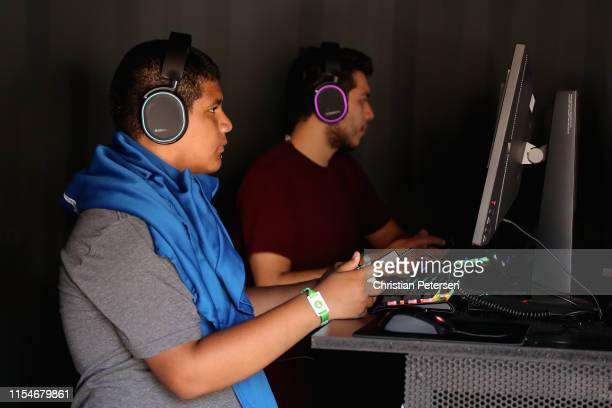 Rafael Cruz of Stanton CA plays Apex Legends during EA Play 2019 event at the Hollywood Palladium on June 08 2019 in Los Angeles California