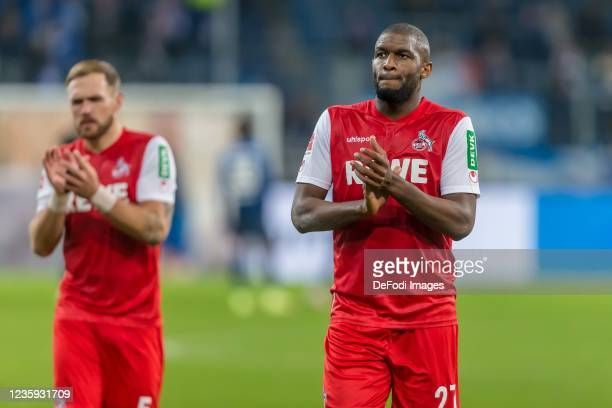 Rafael Czichos of 1.FC Koeln and Anthony Modeste of 1.FC Koeln looks dejected after the Bundesliga match between TSG Hoffenheim and 1. FC Köln at...