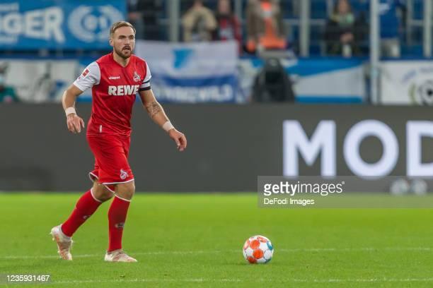 Rafael Czichos of 1.FC Koeln controls the Ball during the Bundesliga match between TSG Hoffenheim and 1. FC Köln at PreZero-Arena on October 15, 2021...