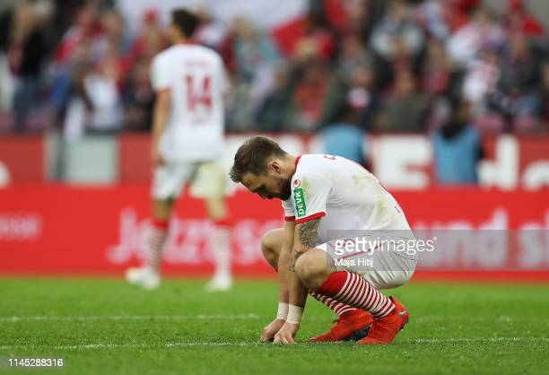 Rafael Czichos of FC Koln looks dejected in defeat after the Second Bundesliga match between 1. FC Koeln and SV Darmstadt 98 at RheinEnergieStadion...