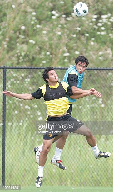 Rafael Da Silva and Fabio Da Silva of Manchester United in action during a First Team Training Session as part of their pre-season tour of the US,...