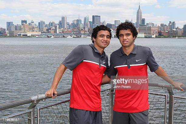 Rafael da Silva and Fabio da Silva of Manchester United pose in front of the New York skyline as part of their pre-season tour of the USA on July 27,...