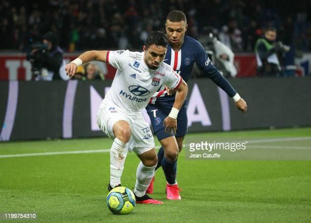 Rafael Da Silva of Lyon, Kylian Mbappe of PSG during the Ligue 1 match between Paris Saint-Germain and Olympique Lyonnais at Parc des Princes stadium...