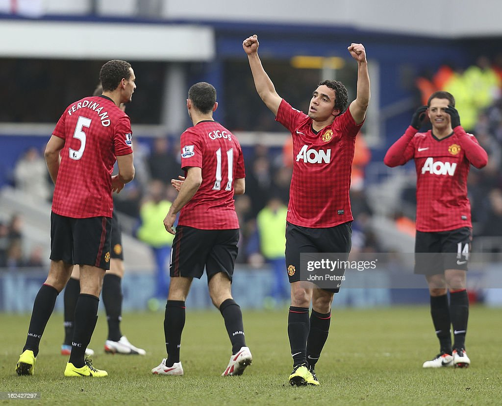 Rafael Da Silva of Manchester United celebrates scoring their first goal during the Barclays Premier League match between Queens Park Rangers and Manchester United at Loftus Road on February 23, 2013 in London, England.