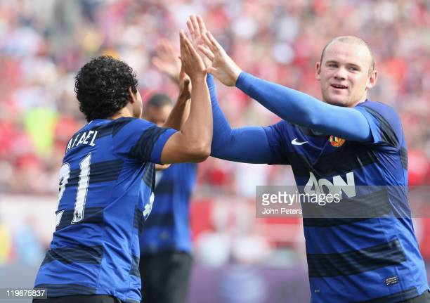 Rafael Da Silva of Manchester United celebrates scoring their second goal during the pre-season friendly match between Chicago Fire and Manchester...