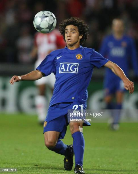 Rafael Da Silva of Manchester United plays in the UEFA Champions League Group E match between Aalborg BK and Manchester United at Aalborg Stadion on...