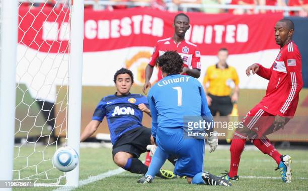 Rafael Da Silva of Manchester United scores their second goal during the pre-season friendly match between Chicago Fire and Manchester United at...