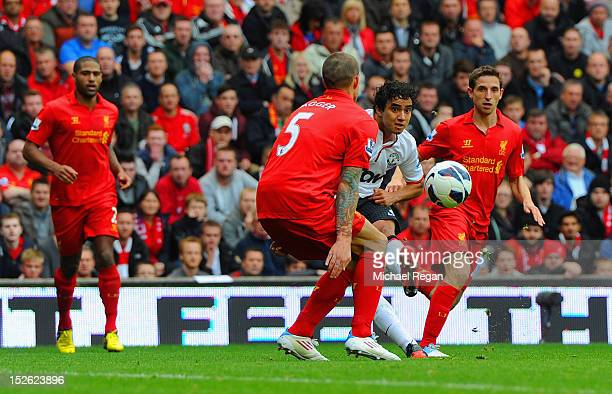 Rafael Da Silva of Manchester United scores to make it 10 during the Barclays Premier League match between Liverpool and Manchester United at Anfield...