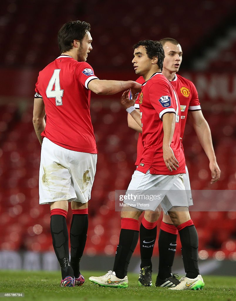 Rafael da Silva of Manchester United U21s celebrates scoring their first goal during the Barclays U21 Premier League match between Manchester United and Tottenham Hotspur at Old Trafford on March 10, 2015 in Manchester, England.