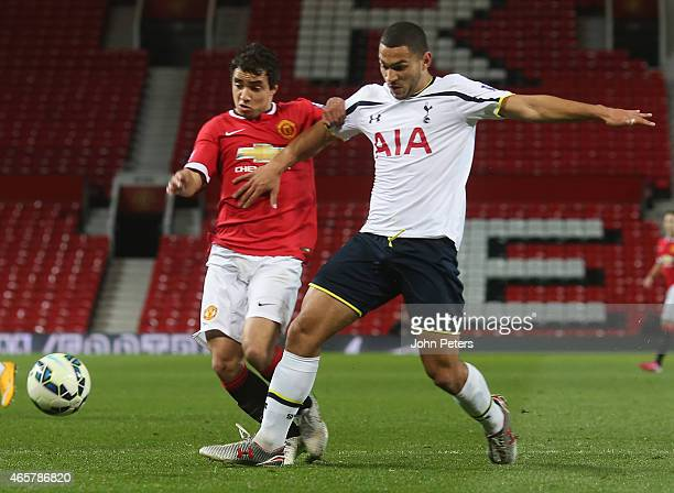 Rafael da Silva of Manchester United U21s in action with Cameron Carter-Vickers of Tottenham Hotspur U21s during the Barclays U21 Premier League...