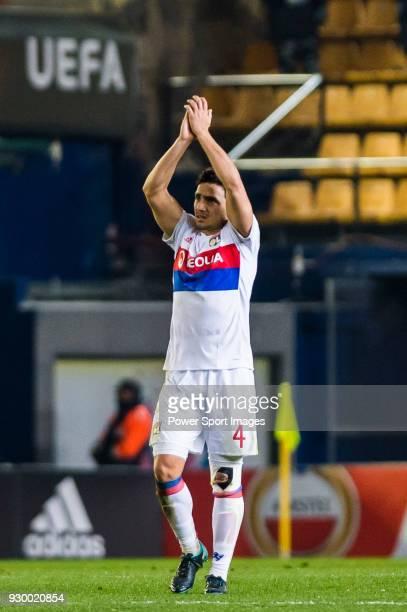 Rafael Da Silva of Olympique Lyon reacts after the UEFA Europa League 2017-18 Round of 32 match between Villarreal CF and Olympique Lyon at Estadio...