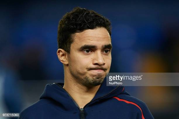 Rafael Da Silva of Olympique Lyonnais looks on prior to the UEFA Europa League round of 32 second leg match between Villarreal CF and Olympique...