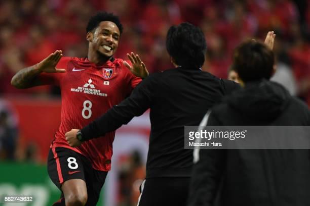 Rafael Da Silva of Urawa Red Diamonds celebrates the first goal during the AFC Champions League semi final second leg match between Urawa Red...