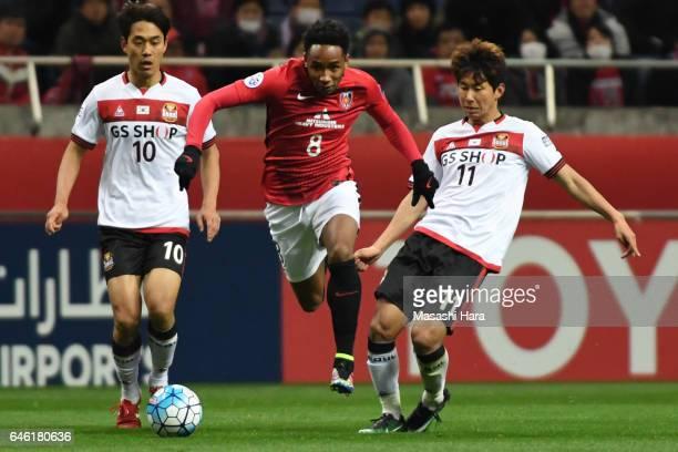 Rafael Da Silva of Urawa Red Diamonds in action during the AFC Champions League match Group F match between Urawa Red Diamonds and FC Seoul at...
