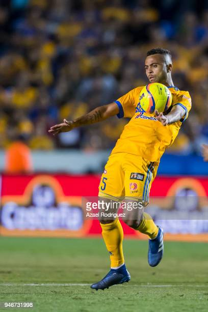 Rafael De Souza of Tigres controls the ball during the 15th round match between Tigres UANL and Cruz Azul as part of the Torneo Clausura 2018 Liga MX...
