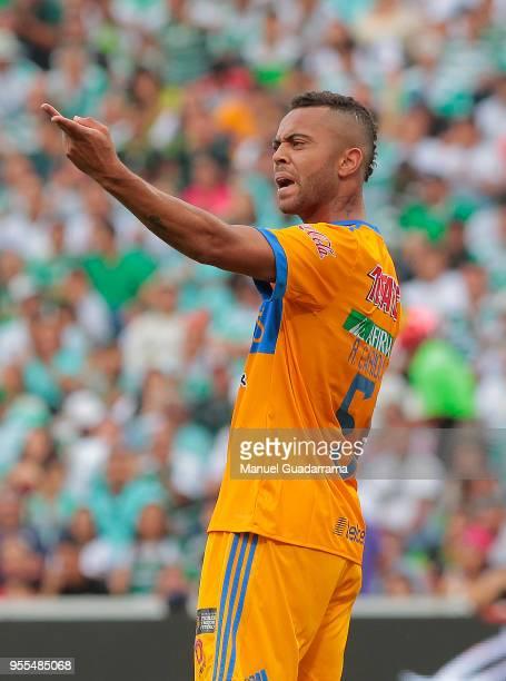 Rafael de Souza of Tigres gestures during the quarter finals second leg match between Santos Laguna and Tigres UANL as part of the Torneo Clausura...