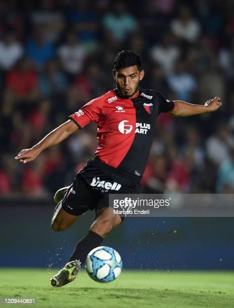 Rafael Delgado of Colon kicks the ball during a match between Colon and Boca Juniors as part of Superliga 2019/20 at Estadio Brigadier General...