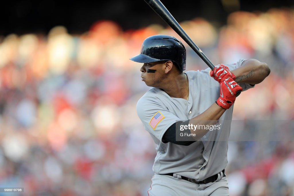 Rafael Devers #11 of the Boston Red Sox bats against the Washington Nationals at Nationals Park on July 2, 2018 in Washington, DC.