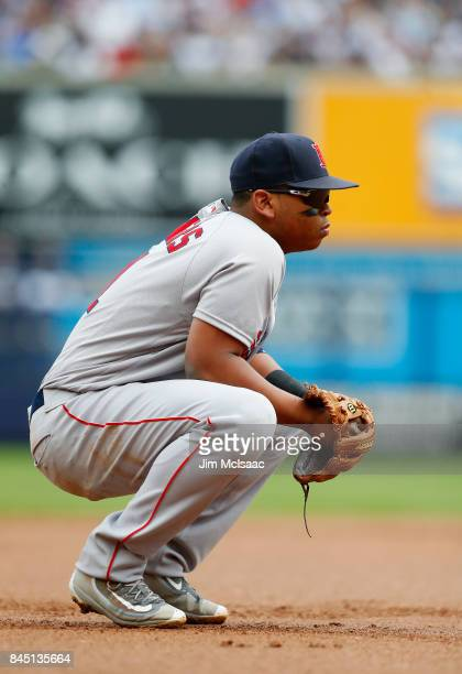 Rafael Devers of the Boston Red Sox in action against the New York Yankees at Yankee Stadium on September 2 2017 in the Bronx borough of New York...