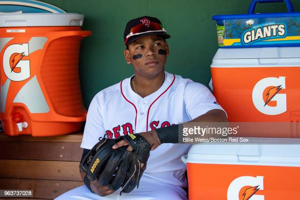 Rafael Devers of the Boston Red Sox looks on before a game against the Toronto Blue Jays on May 30 2018 at Fenway Park in Boston Massachusetts