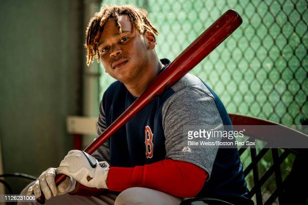 Rafael Devers of the Boston Red Sox poses for a portrait during a team workout on February 20 2019 at JetBlue Park at Fenway South in Fort Myers...