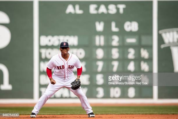 Rafael Devers of the Boston Red Sox prepares on defense during the first inning of a game against the Baltimore Orioles on April 14 2018 at Fenway...