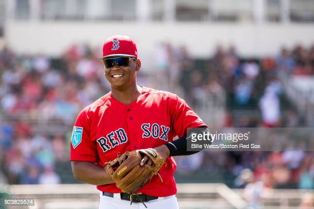 Rafael Devers of the Boston Red Sox reacts before a game against the Tampa Bay Rays at JetBlue Park at Fenway South on February 24 2018 in Fort Myers...