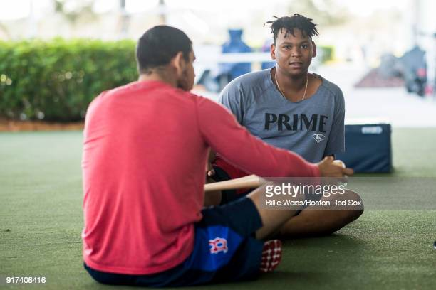 Rafael Devers of the Boston Red Sox reacts during a team workout on February 12 2018 at Fenway South in Fort Myers Florida