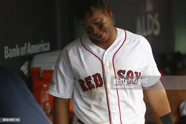 Rafael Devers of the Boston Red Sox reacts in the dugout after being defeated by the Houston Astros 54 in game four of the American League Division...