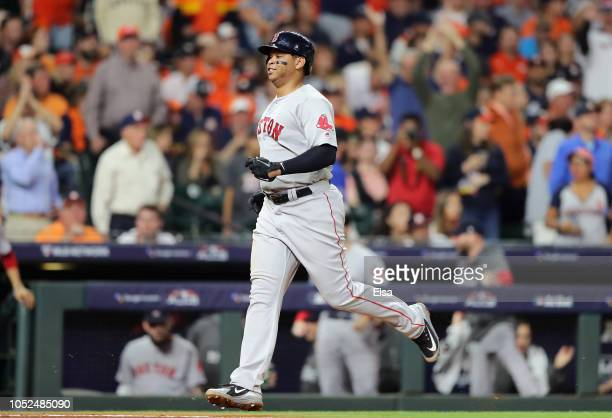 Rafael Devers of the Boston Red Sox runs the bases after hitting a threerun home run in the sixth inning against the Houston Astros during Game Five...