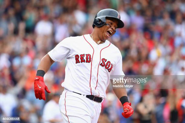 Rafael Devers of the Boston Red Sox runs the bases after hitting a tworun home run in the third inning against the Houston Astros during game three...