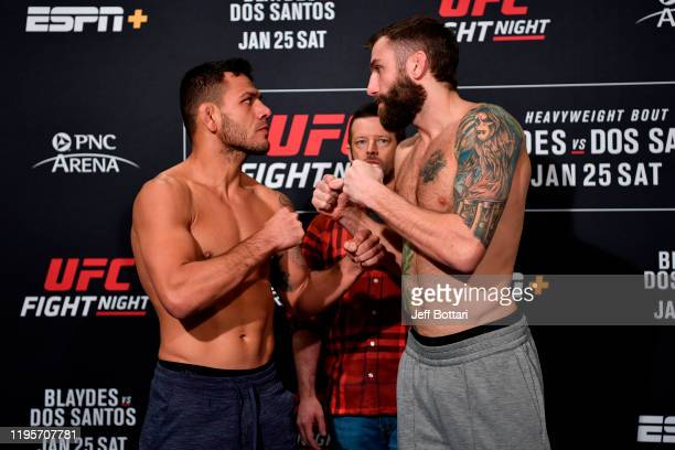 Rafael Dos Anjos of Brazil and Michael Chiesa face off during the UFC Fight Night weighins at the Embassy Suites Raleigh Crabtree on January 24 2020...
