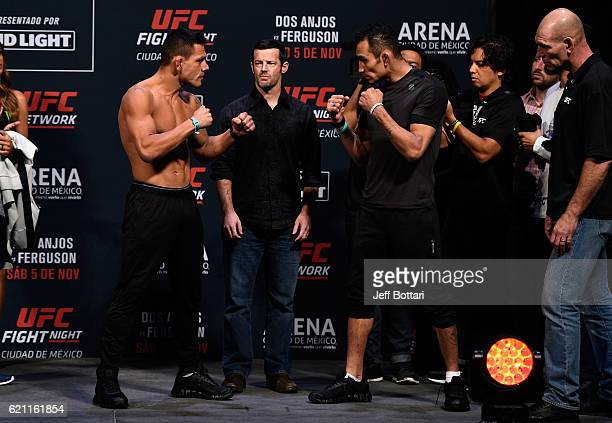 Rafael dos Anjos of Brazil and Tony Ferguson of the United States face off during the UFC weigh-in at the Arena Ciudad de Mexico on November 4, 2016...