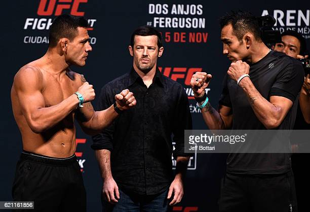 Rafael dos Anjos of Brazil and Tony Ferguson of the United States face off during the UFC weighin at the Arena Ciudad de Mexico on November 4 2016 in...