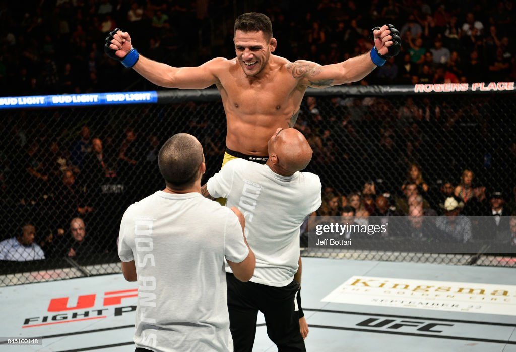 Rafael Dos Anjos of Brazil celebrates his submission victory over Neil Magny in their welterweight bout during the UFC 215 event inside the Rogers Place on September 9, 2017 in Edmonton, Alberta, Canada.