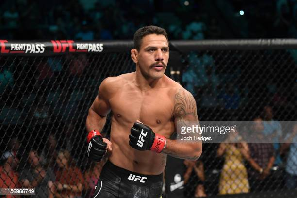 Rafael Dos Anjos of Brazil enters the Octagon prior to facing Leon Edwards of Jamaica in their welterweight bout during the UFC Fight Night event at...