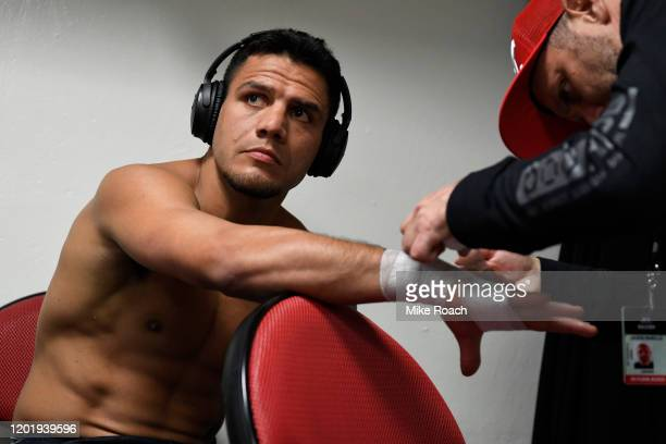 Rafael Dos Anjos of Brazil has his hands wrapped backstage during the UFC Fight Night event at PNC Arena on January 25 2020 in Raleigh North Carolina