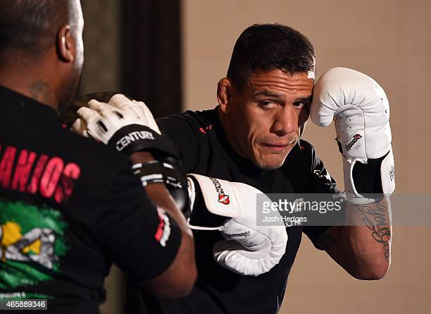 Rafael Dos Anjos of Brazil holds an open training session for fans and media at the Hilton Anatole Hotel on March 11 2015 in Dallas Texas