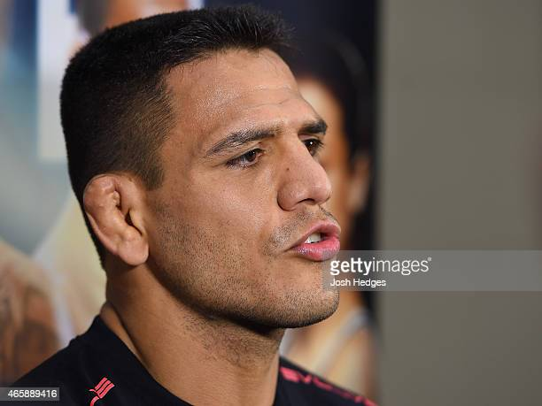 Rafael Dos Anjos of Brazil interacts with media after an open training session for fans and media at the Hilton Anatole Hotel on March 11 2015 in...