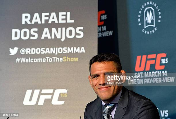 Rafael dos Anjos of Brazil interacts with media during the UFC 185 Ultimate Media Day at the American Airlines Center on March 12 2015 in Dallas Texas
