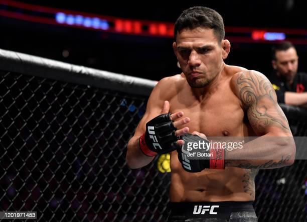 Rafael Dos Anjos of Brazil prepares to fight Michael Chiesa in their welterweight fight during the UFC Fight Night event at PNC Arena on January 25,...