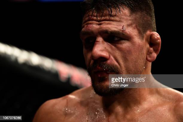 Rafael Dos Anjos of Brazil reacts after the conclusion of his bout against Kamaru Usman of Nigeria during The Ultimate Fighter Finale event inside...
