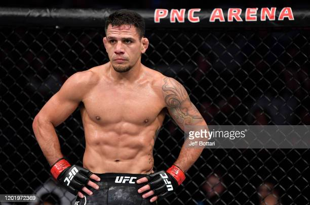 Rafael Dos Anjos of Brazil stands in his corner between rounds of his welterweight fight against Michael Chiesa during the UFC Fight Night event at...