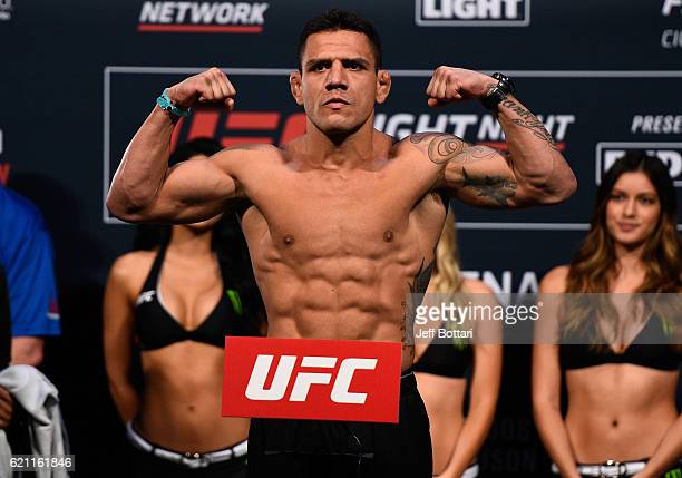 Rafael dos Anjos of Brazil steps onto the scale during the UFC weigh-in at the Arena Ciudad de Mexico on November 4, 2016 in Mexico City, Mexico.