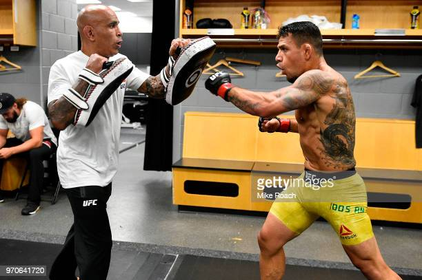 Rafael Dos Anjos of Brazil warms up backstage during the UFC 225 event at the United Center on June 9 2018 in Chicago Illinois