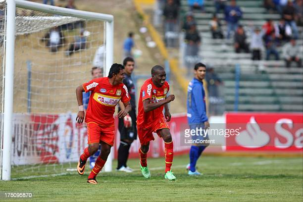 Rafael Farfan of Sport Huacayo celebrates during the match between Huancayo and Emelec as part of the Copa Total Sudamericana 2013 on July 31 2013 in...