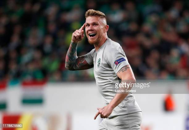 Rafael Forster of PFC Ludogorets 1945 celebrates his goal during the UEFA Europa League Group Stage match between Ferencvarosi TC and PFC Ludogorets...