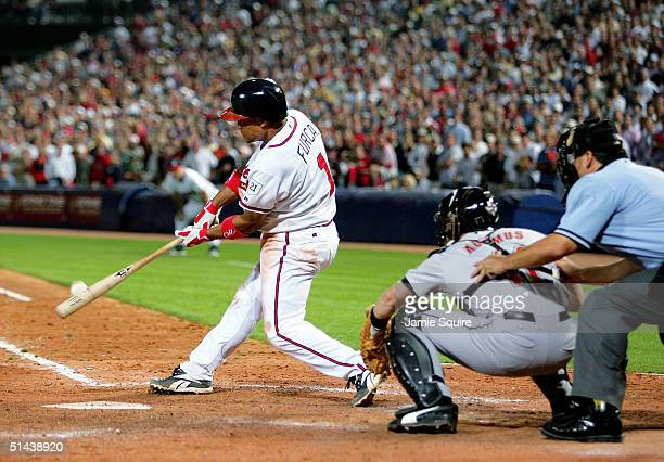 Rafael Furcal of the Atlanta Braves hits a tworun walkoff home run in the bottom of the 11th inning to beat the Houston Astros 42 in game two of the...