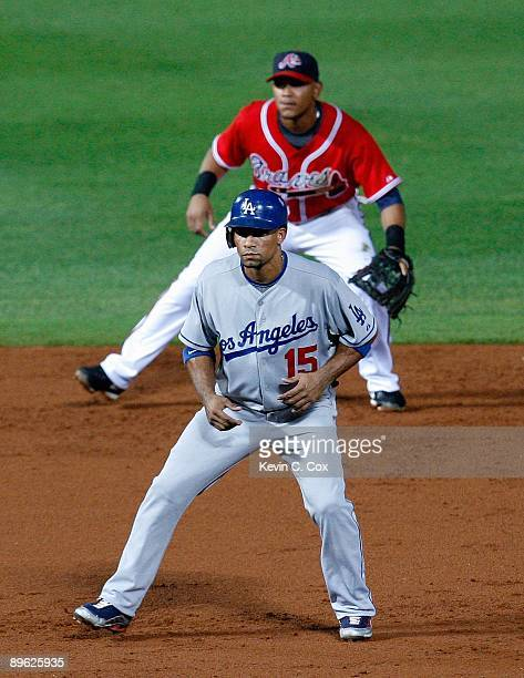 Rafael Furcal of the Los Angeles Dodgers against the Atlanta Braves on August 2 2009 at Turner Field in Atlanta Georgia
