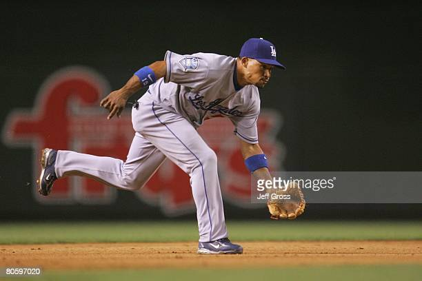 Rafael Furcal of the Los Angeles Dodgers fields against the Arizona Diamondbacks at Chase Field on April 7 2008 in Phoenix Arizona